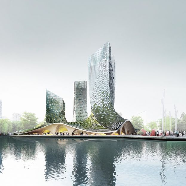 Futuristic, Blockchain-Powered, Algae-Coated Towers Proposed for Hangzhou